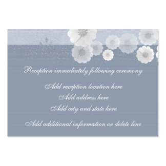 Blue And White Floral Reception Card Business Card Templates