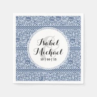 Blue and White Floral Tudor Damask Vintage Style Disposable Serviette