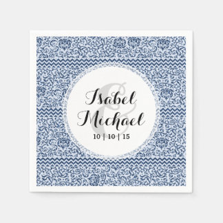 Blue and White Floral Tudor Damask Vintage Style Paper Napkin