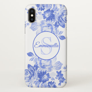 Blue and White Floral Watercolor Monogram Name iPhone X Case