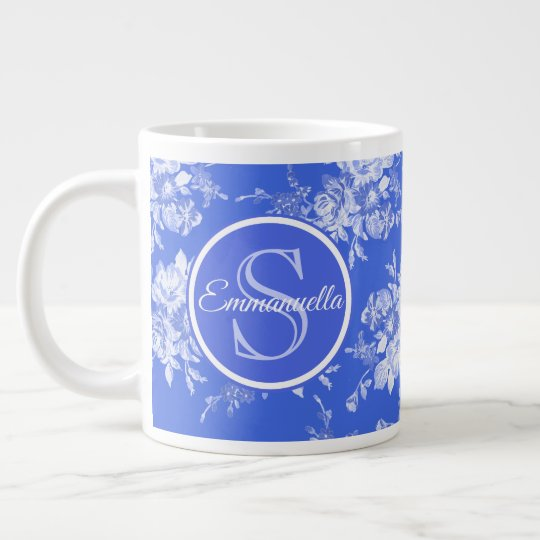 Blue and White Floral Watercolor Monogram Name Large Coffee Mug