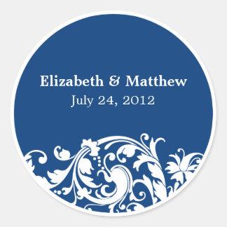 Blue and White Flourish Swirl Wedding Favor Label Round Stickers