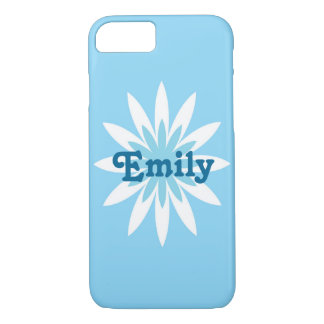 Blue and white flower monogram cell phone case