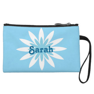 Blue and white flower monogram clutch wristlet clutch