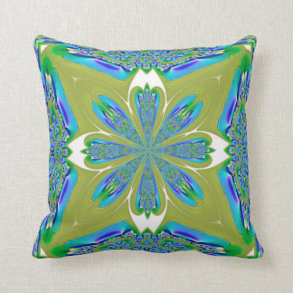 Blue and White Flower on Pea Green American MoJo P Cushion
