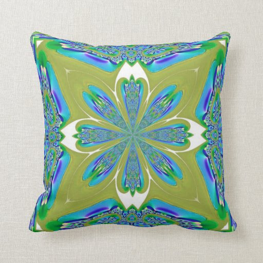 Blue and White Flower on Pea Green American MoJo P Throw Pillows