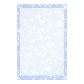 Blue and White Flower Pattern Stationary Stationery Paper