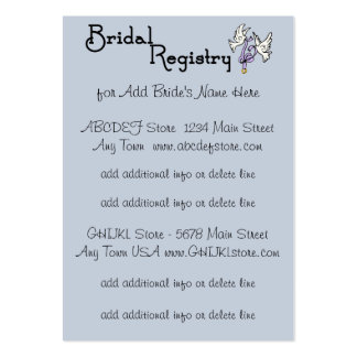 Blue And White Flowers Bridal Registry Cards Pack Of Chubby Business Cards