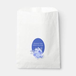 Blue and White Flowers Bridal Shower Favor Bag