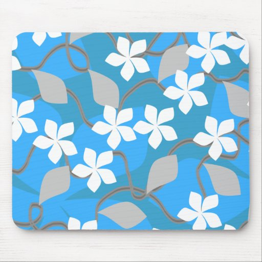 Blue and White Flowers. Floral Pattern. Mousepad