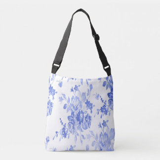 Blue and White Flowers Pattern Crossbody Bag