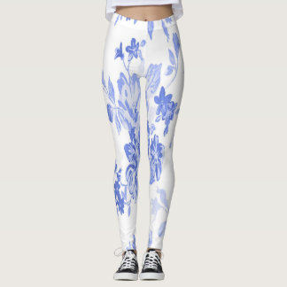 Blue and White Flowers Pattern Leggings