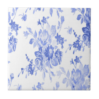 Blue and White Flowers Pattern Small Square Tile