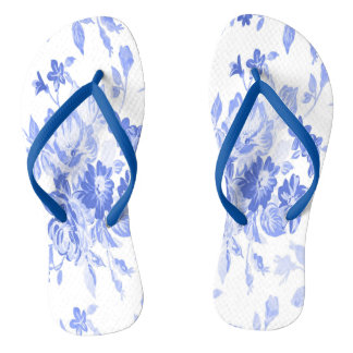 Blue and White Flowers Pattern Thongs