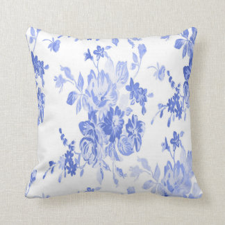 Blue and White Flowers Pattern Throw Pillow