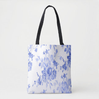 Blue and White Flowers Pattern Tote Bag