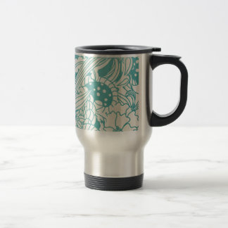 Blue and White Flowers Stainless Steel Travel Mug