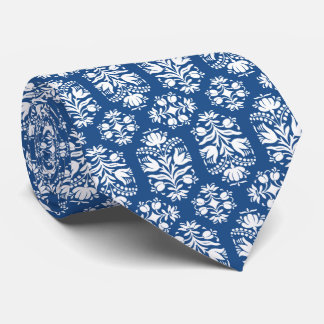 Blue and White Folk Art Floral Damask Tie
