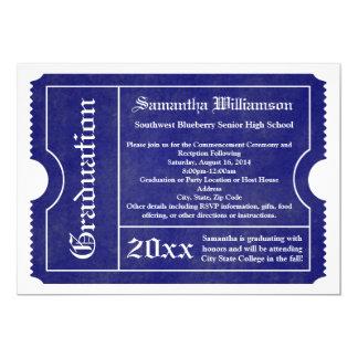 Blue and White formal Graduation Ticket 13 Cm X 18 Cm Invitation Card