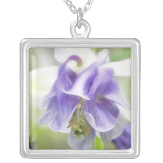 Blue And White Frilly Columbine Silver Plated Necklace