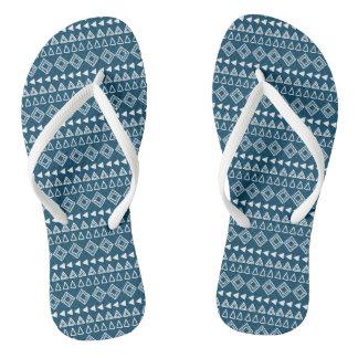Blue and White Geometric Pattern Thongs