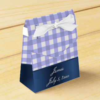 Blue and white Gingham baby boy shower Favour Box