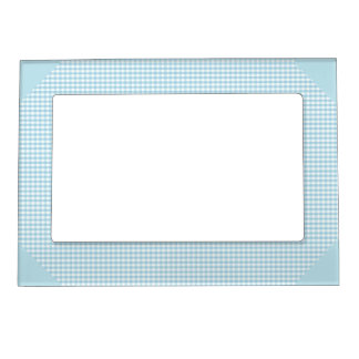 Blue and White Gingham Check Picture Frame Magnets