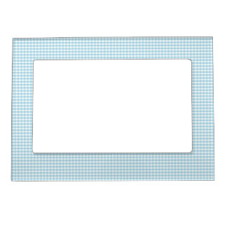 Blue and White Gingham Check Magnetic Frame