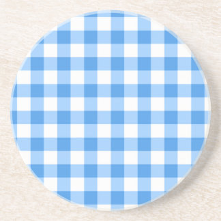 Blue And White Gingham Check Pattern Coaster