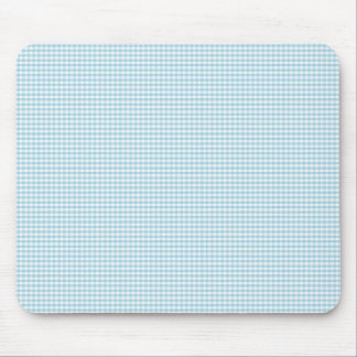 Blue And White Gingham Check Pattern Mouse Pad
