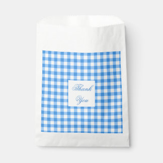 Blue And White Gingham Check Thank You Favour Bags