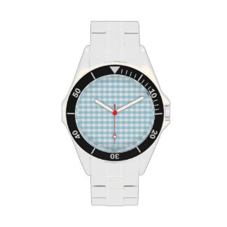 Blue and White Gingham Check Wristwatches