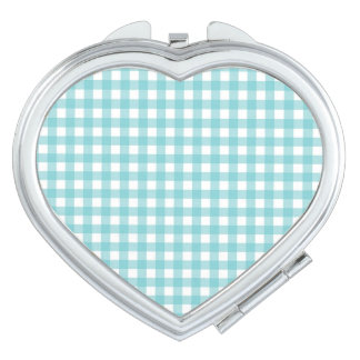 Blue and White Gingham Design Compact Mirrors