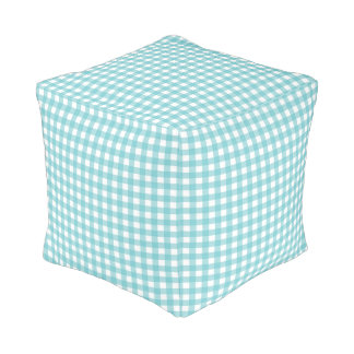 Blue and White Gingham Design Cube Pouffe