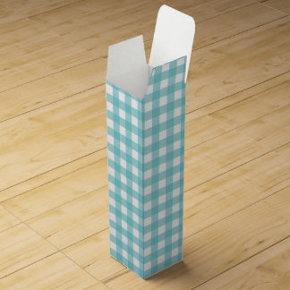 Blue and White Gingham Design Wine Gift Boxes