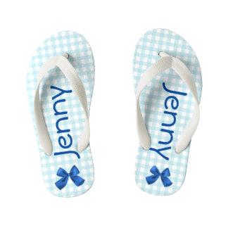 Blue and White Gingham Girls Flip Flops