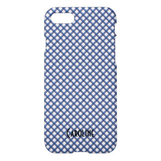 Blue and White Gingham Pattern Personalized Name iPhone 8/7 Case