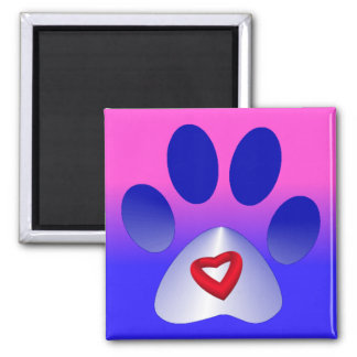 Blue and White Gradient Paw w/Heart Magnet