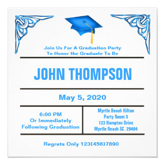 Blue and White Graduation Party Invitation