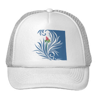 Blue and White Graphic Rose Trucker Hat