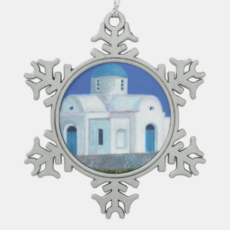Blue And White Greek Cypriot Church Snowflake Pewter Christmas Ornament