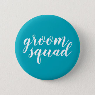 "Blue and white ""groom squad"" button"
