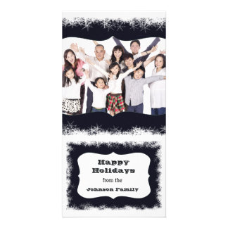 Blue and White Happy Holidays Family Photo Frame Picture Card