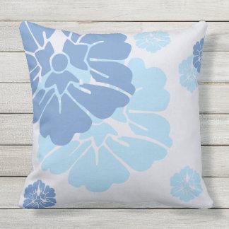 Blue and White Hawaiian Style Throw Cushion