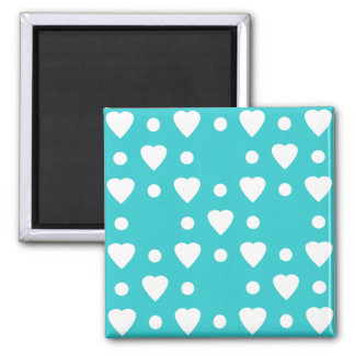 Blue and White heart pattern Magnet