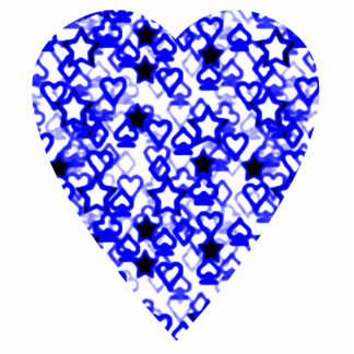 Blue and White Heart. Patterned Heart Design. Photo Cut Outs