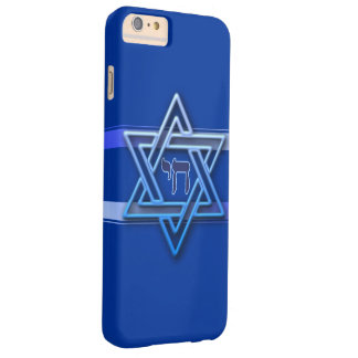 Blue and White Hebrew Chai Star of David Barely There iPhone 6 Plus Case