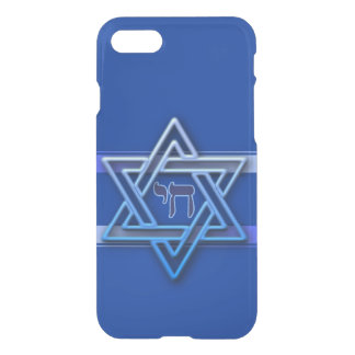 Blue and White Hebrew Chai Star of David iPhone 7 Case