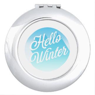 Blue And White Hello Winter Polka Dot Travel Mirror
