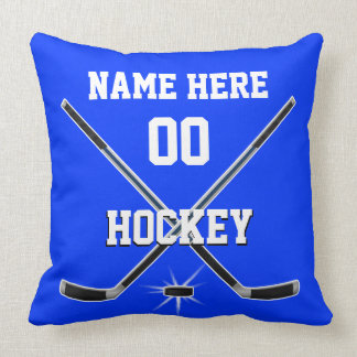 Blue and White Hockey Pillow PERSONALIZED